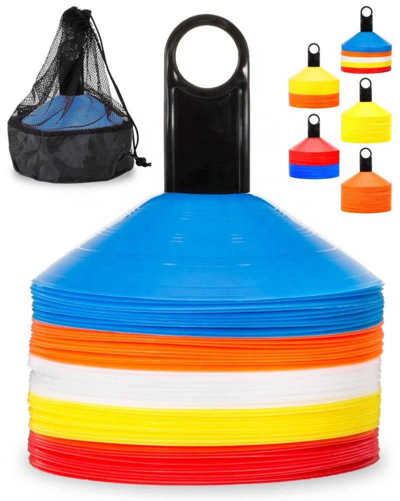 Wholesale Sport Soccer Disc Cones Sets 50-Pack ,come with holder and mesh bag