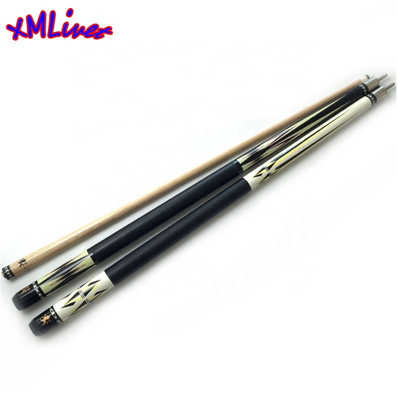 Xmlivet Maple hout Professionele decal Biljart Pool Cues in 11.5mm Black8 lederen wrap 1/2 split keu Biljart accessoires