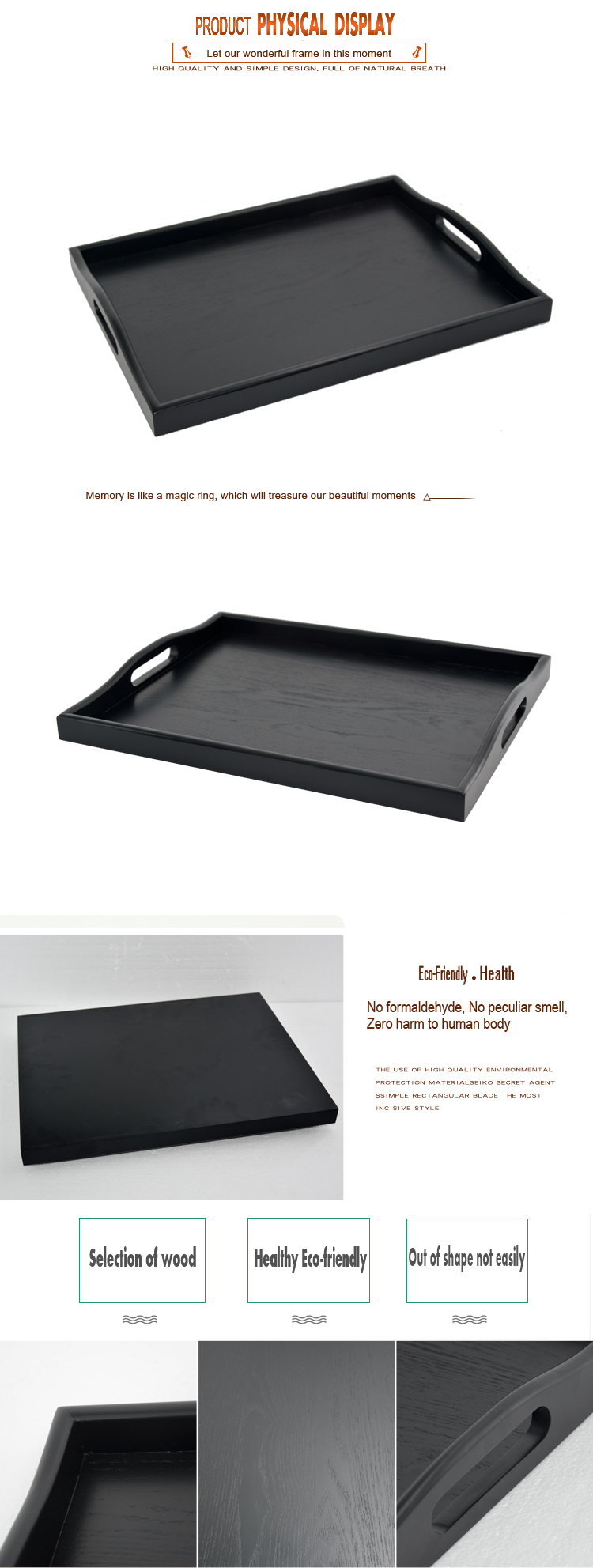 High-grade Solid wood Wooden Serving sampling   Black acquer food tray