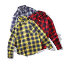 Mens 100% cotton plain customized label plaid check wholesale long sleeve button up Polo shirt check shirts for men