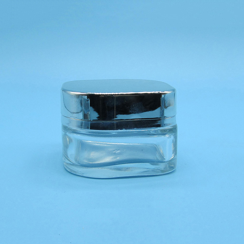 EMPTY 30ML 50ML SQUARE CLEAR COSMETIC GLASS JAR WITH SILVER CAP