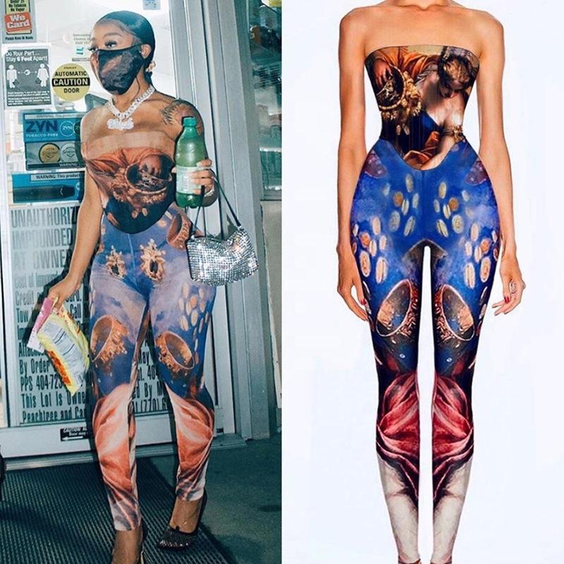 2020 nuovo prodotto stampato tuta sexy di estate vestito off spalla pantaloni lunghi di un pezzo della tuta per le donne