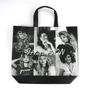 Cheap Big Black Foldable 100gsm Non woven Shopping Tote Bag