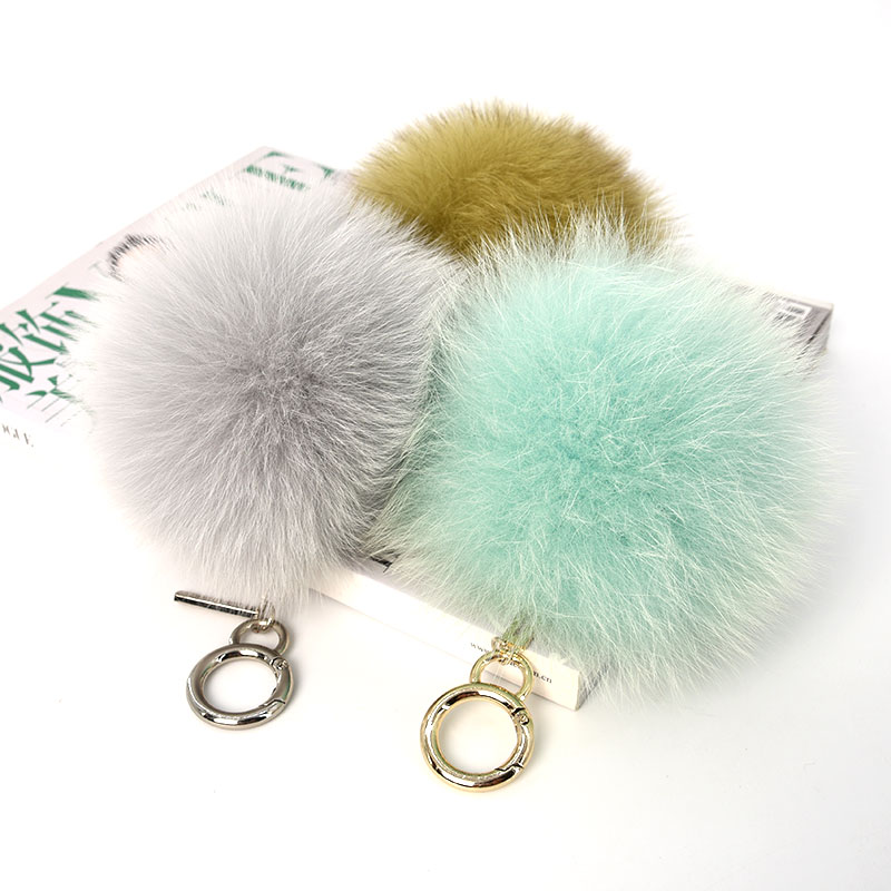 14cm Fashionable <strong>fox</strong> <strong>fur</strong> <strong>ball</strong> <strong>keychain</strong>/bag charm colorful <strong>fur</strong> pompoms