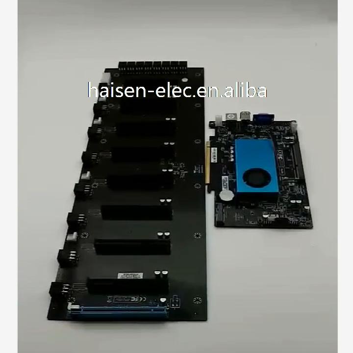 HAISEN 8 GPU BTC ETH di estrazione mineraria scheda madre per 1U di estrazione mineraria dispositivo di scheda madre chassis Intel BTC ic847 CPU scheda madre