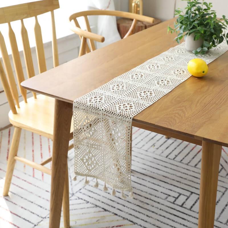 Je @ home Européenne rétro dentelle main crochet fleur gland creux table en macramé