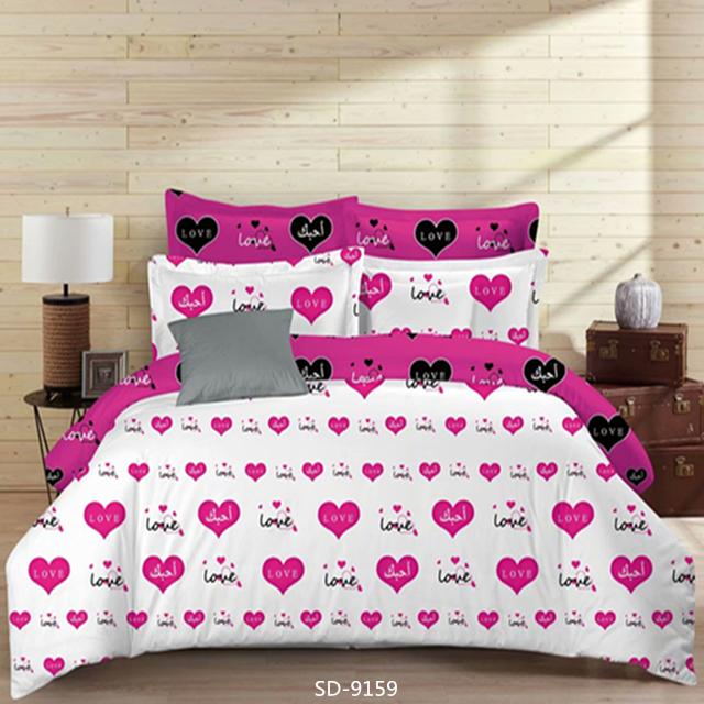 बिस्तर शीट सेट दिल मुद्रित ब्रश Microfiber 1800 बिस्तर शिकन फीका दाग नि: शुल्क