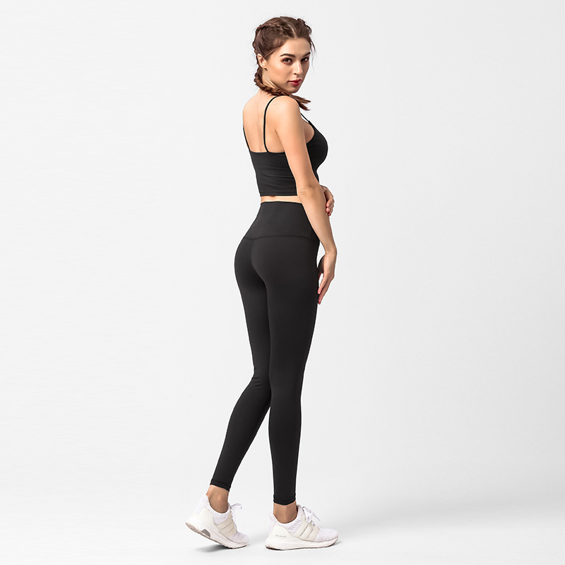 Hot Sale Wholesale Cheap Price High Quality Strech Crop Top And Pants Black Women Clothing Yoga Suit Set