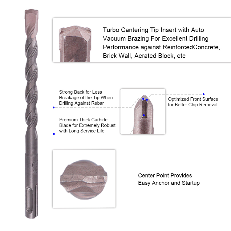 SDS Plus Hammer Reinforced Concrete Rebar Drill Bit for Cut Through ReBar of Reinforced Concrete