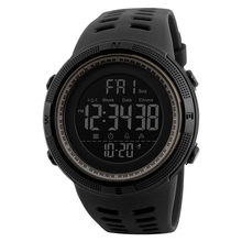 New arrival skmei 3 atm 물 저항하는 watch men chronograph watch 패션 스포츠 digital 플라스틱 wristwatch 1251
