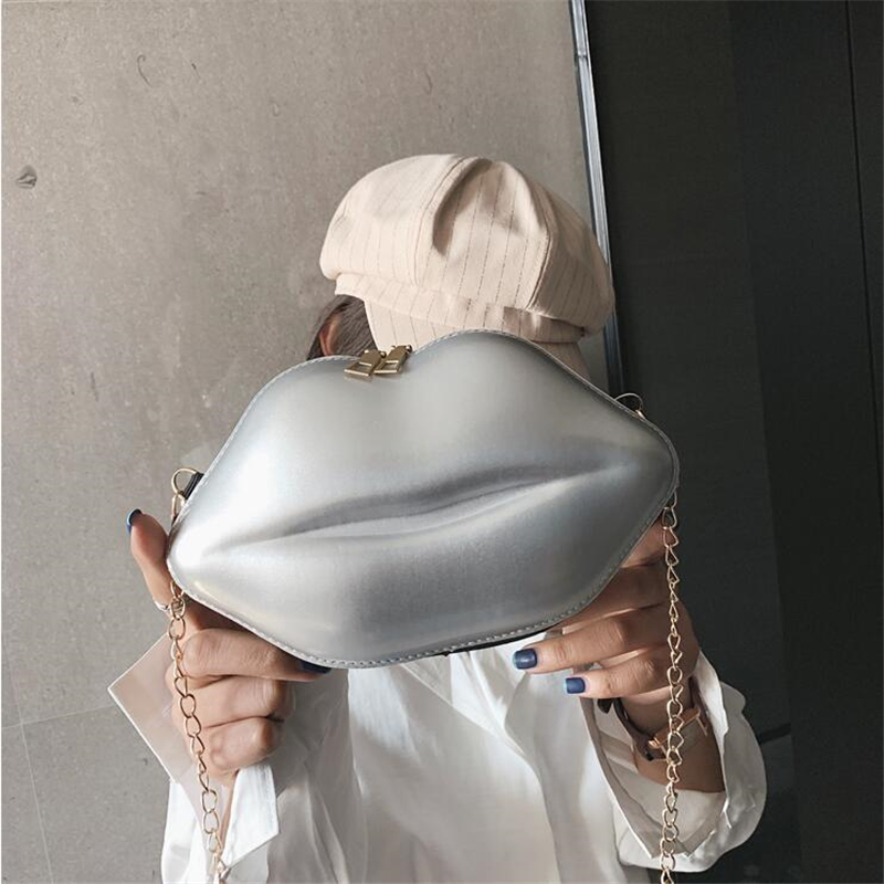 Fashion Lips Pu Ladies Day Clutch Bag Chain Purse Shoulder Bag Handbag Women's Crossbody Mini Messenger Bag wholesale price