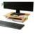 Home Office Natural Bamboo Monitor Stand, Computer Riser, Desk Organizer, Laptop Rack