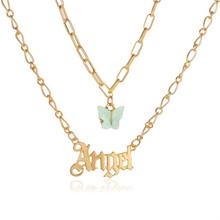 Двойное акриловое ожерелье с бабочкой, модное ожерелье с надписью «Angel», английское ожерелье с буквами для маленькой девочки(China)