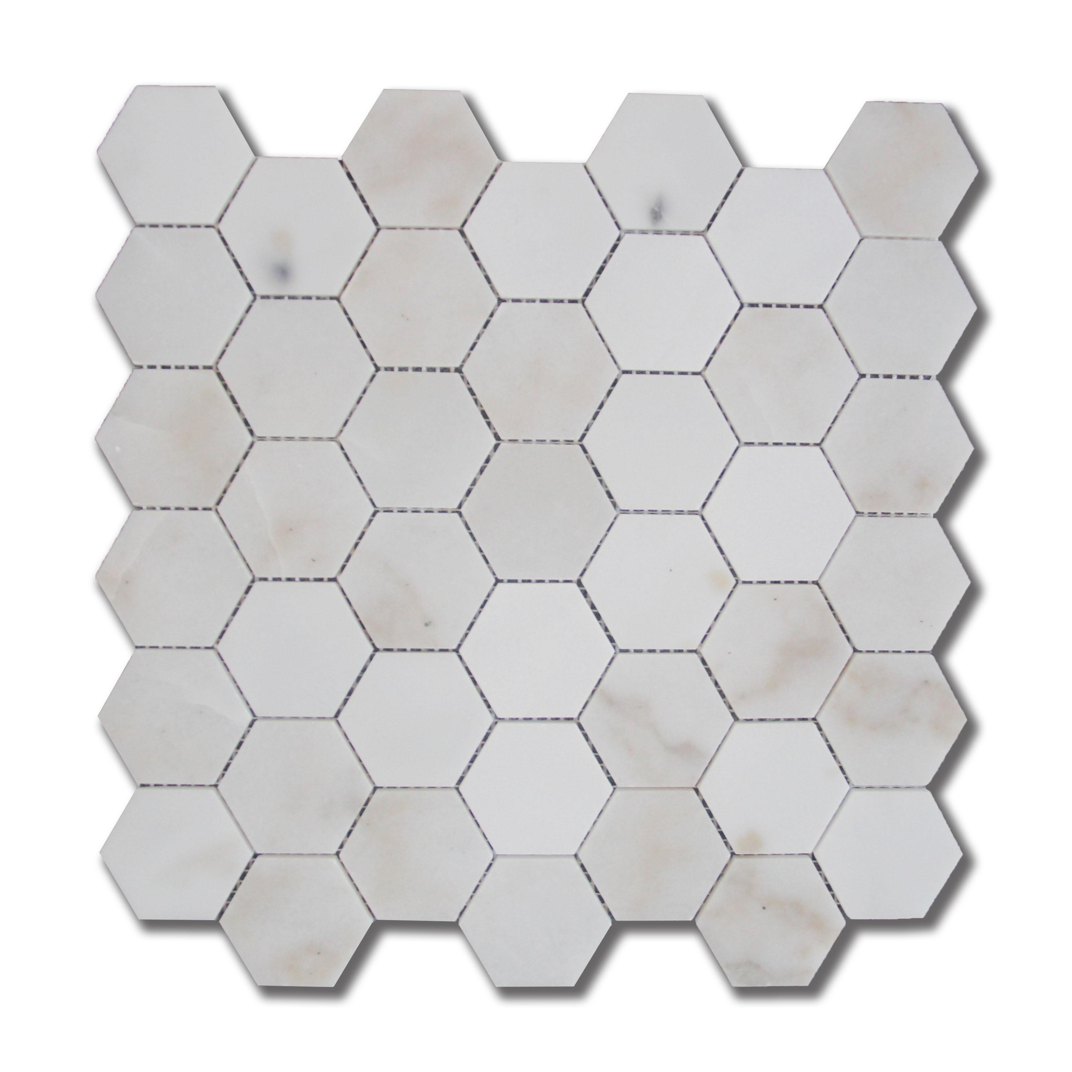 Guangxi white waterjet mosaic marble hexagon mosaic tile for kitchen backsplash, wall decoration