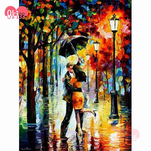 Rainy Kiss For Loving DIY Diamond Abstract Art Painting