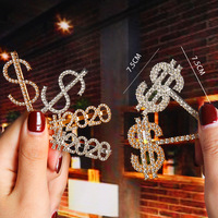 INS Hot Sale Crystal Rhinestone Letter Hair Clips Hair Pin Words Glam LOVE BOYS HOPE BOSS GIRLS MISS BABY STAR Letter Hair Clips