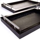 Household usage stable wooden serving trays with stainless steel handles