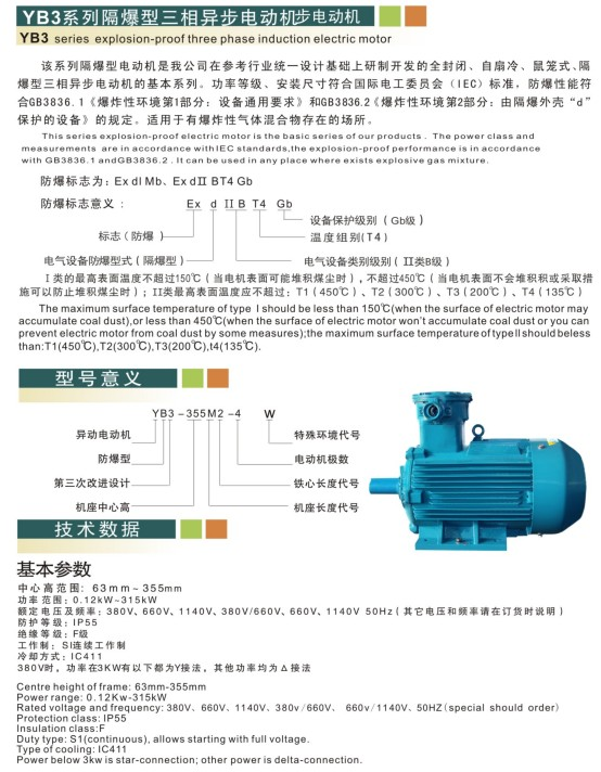 YB3 Series Explosion-Proof Three Phase Induction Electric Motor