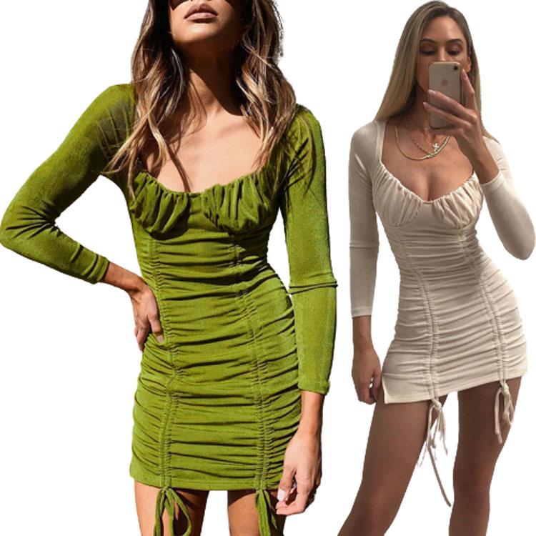 New autumn women green dress pleated sexy drawstring long sleeve tight dress