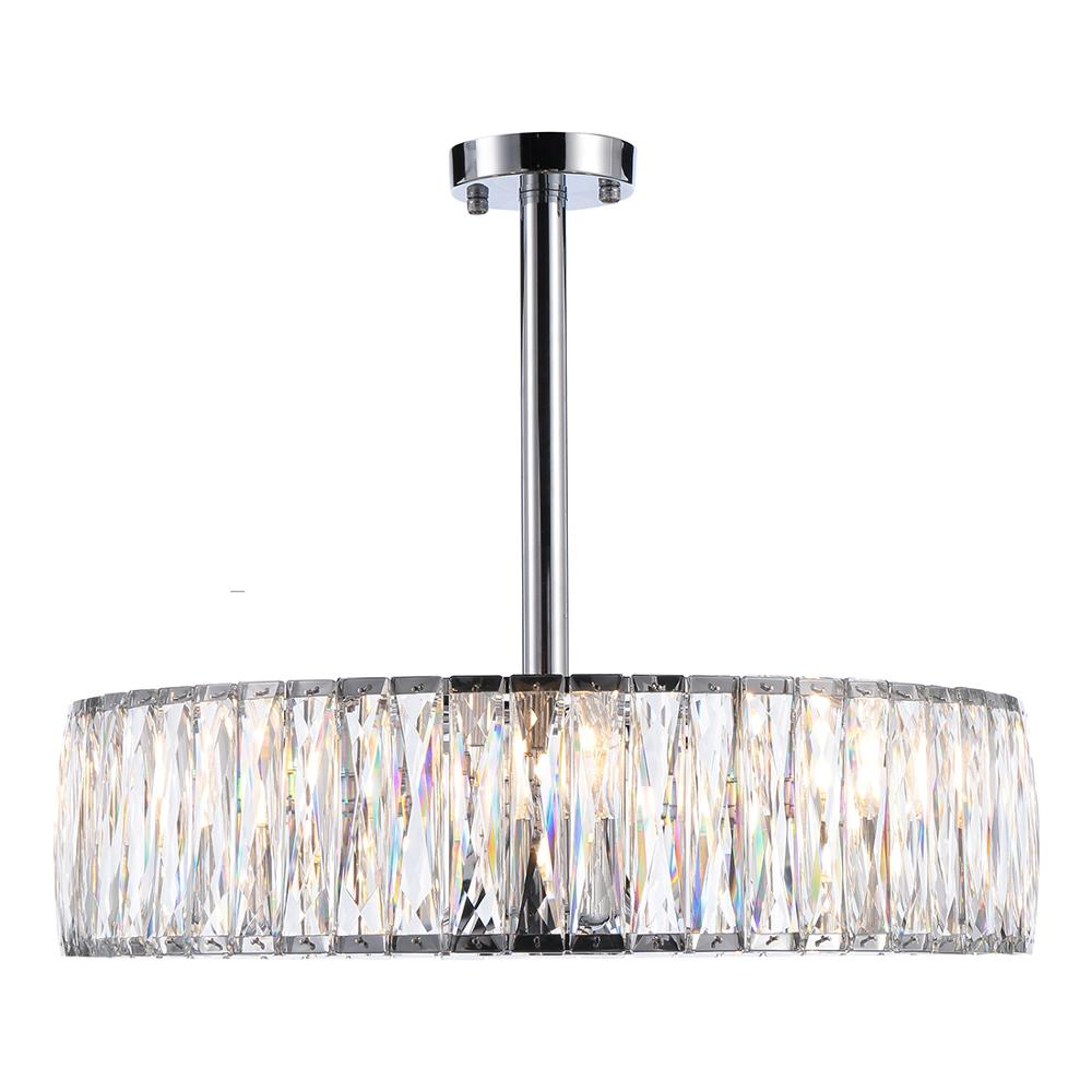 Modern Simple Style Transparent Crystal Living Room Hotel Dining Room Decor Metal Pendant Chandelier