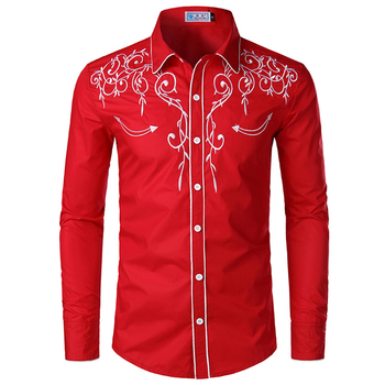 Mens Western Shirts Long Sleeve Slim Fit Embroidered Cowboy Casual Button Down Shirt