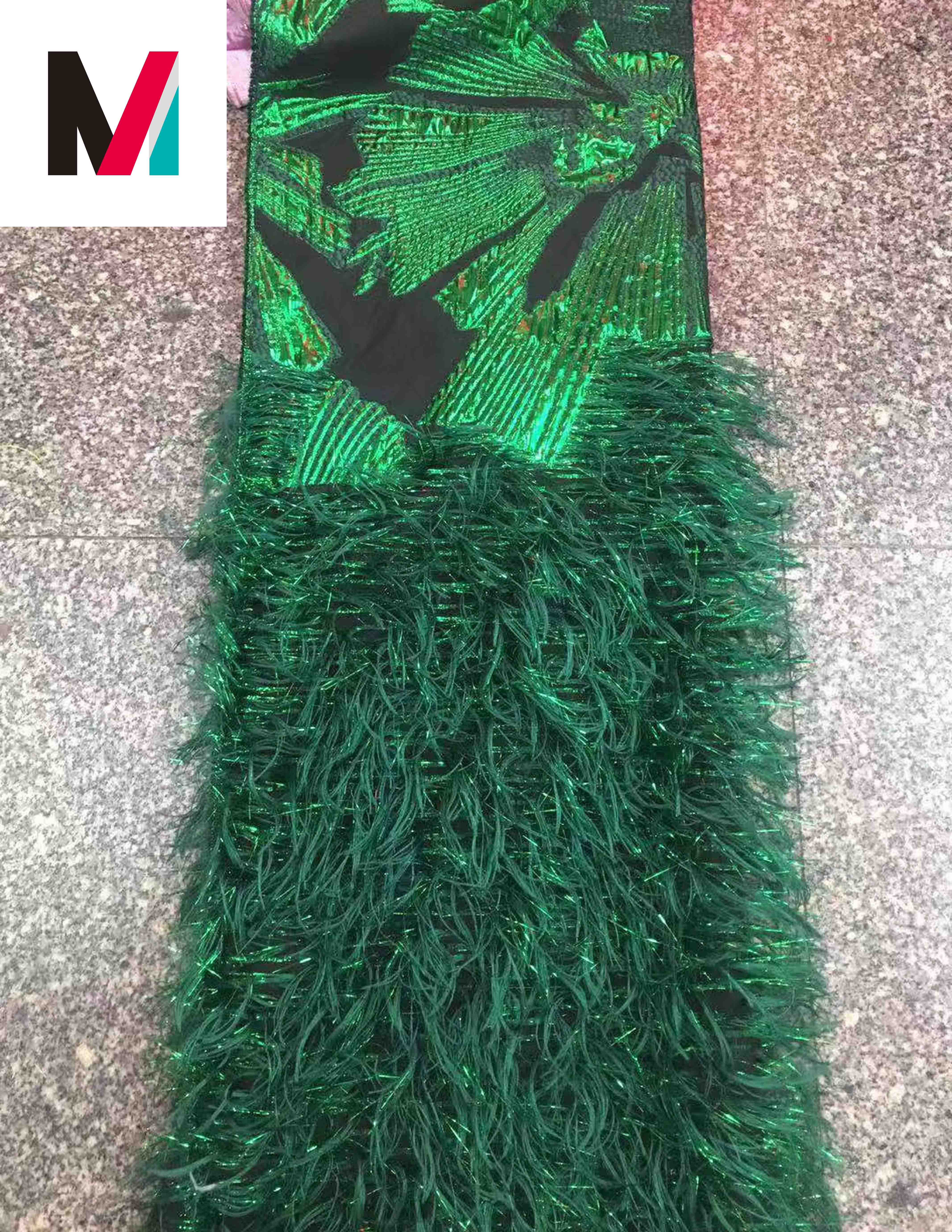 African cord dry gold metallic mesh fringe embroidered lace emerald dark green sequin fabric