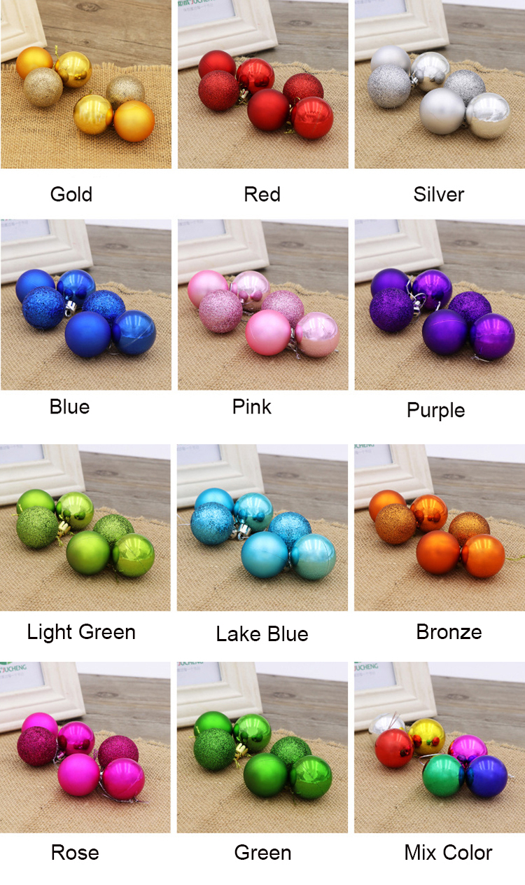 Decorative Beautiful Boxed 8cm Christmas Ball Ornaments Bulk Plastic Tree Decoration Christmas Hanging Balls