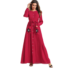 Zakiyyah 7568 Modest Islamic Clothing Embroidery Pattern Cotton Kaftan Abaya Muslim Women Dress With Pocket