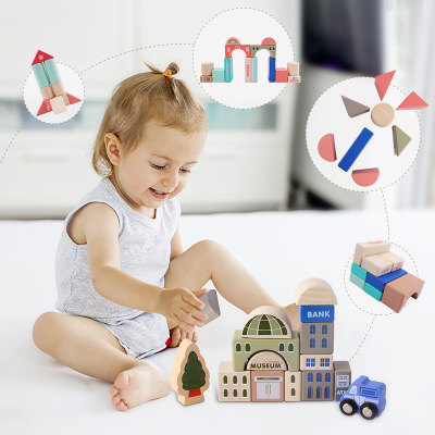 115 pcs educational wooden city transportation building blocks wooden stacking blocks set toys for kids