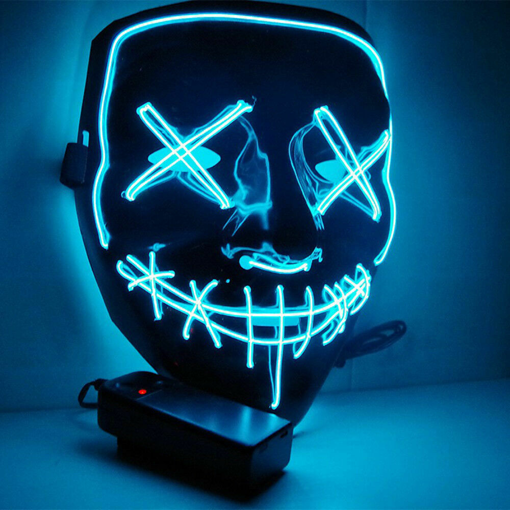 LED Glow Maschera di Halloween El filo Smorfia Costume Light Up Rave Cosplay di Natale Del Partito Del Club