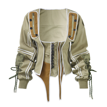 Winter Trendy Dames <span class=keywords><strong>Jas</strong></span> Runway Tops <span class=keywords><strong>Jas</strong></span> Windjack Patchwork Katoen Legergroen Onregelmatige Vintage Lace Up Corset Jacket