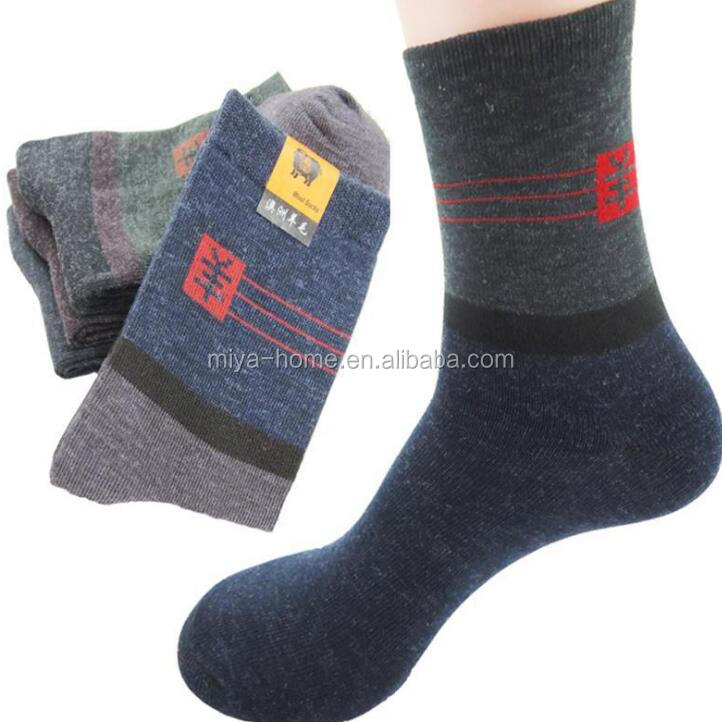 Autumn and winter tube warm men's wool socks / color matching breathable casual cotton socks / male old socks