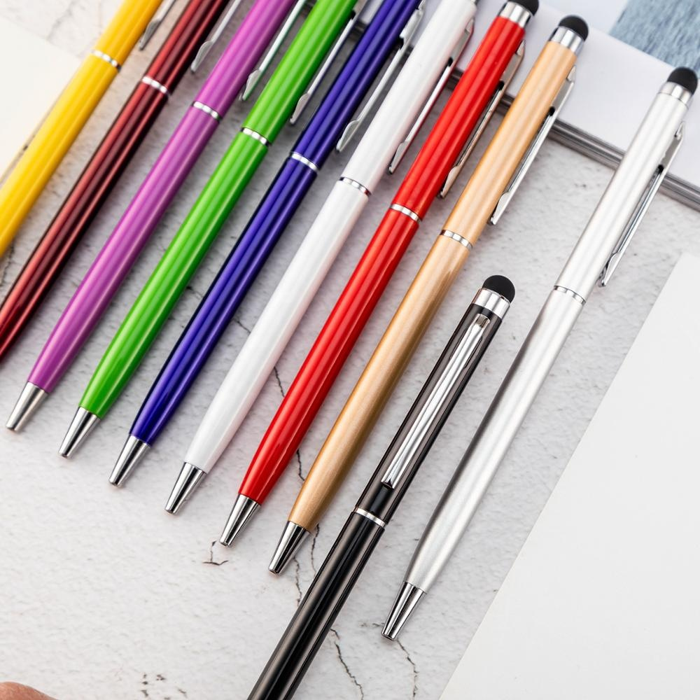 Luxury hotel custom logo slim twist touch stylus metal ball pen