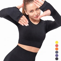 2020 Fitness & Yoga Wear Seamless Crop Top Custom Long Sleeve Shirt with Thumb Holes