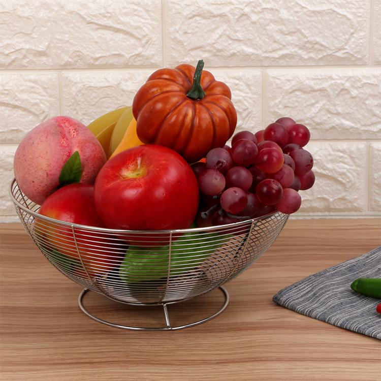Food grade wire fruit vegetable storage basket wire metal round basket stainless steel fruit basket