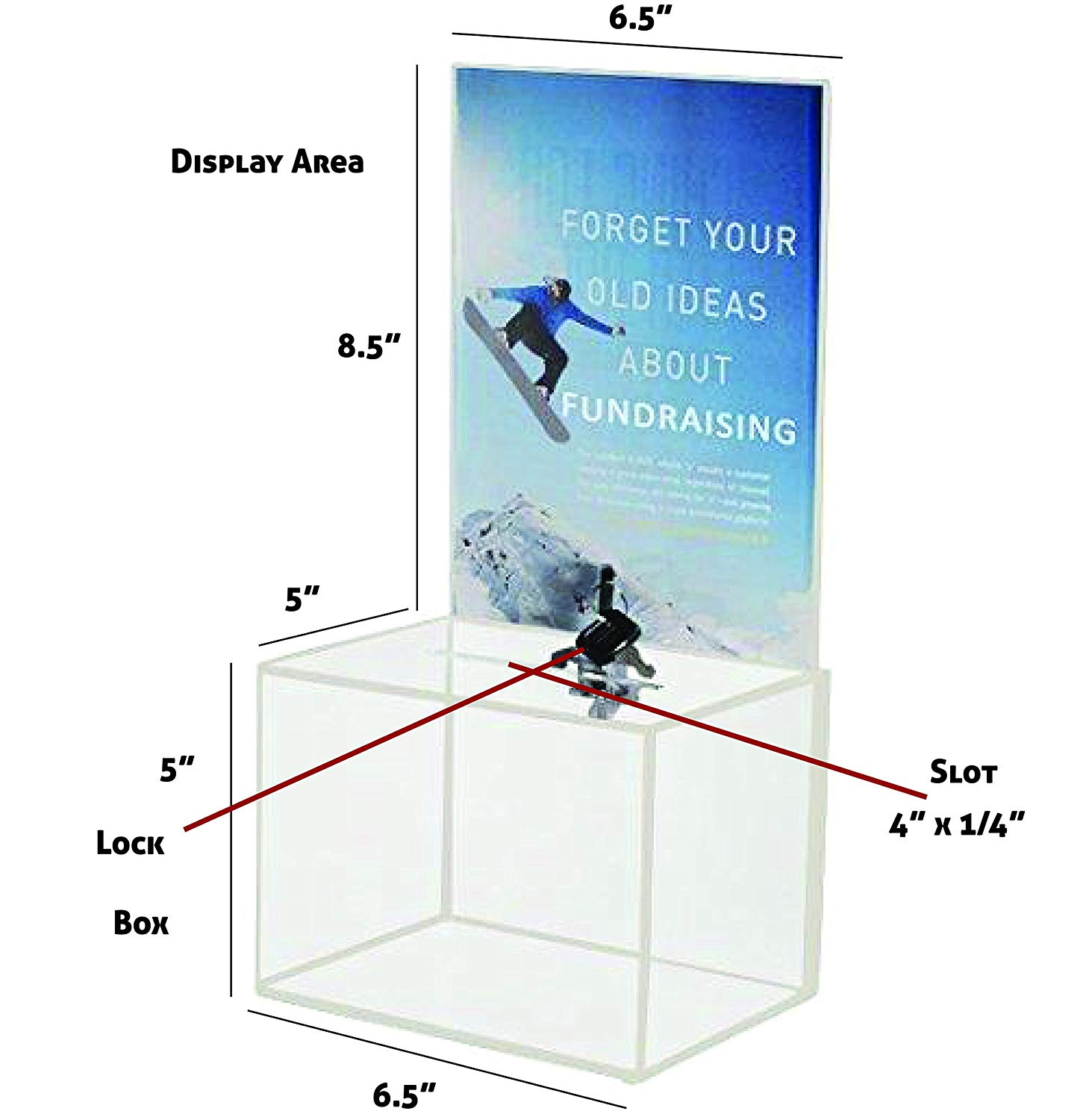 Acrylic Donation Box Ballot Box Suggestion Box  Comments Box with Locking