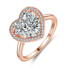 Solide Rose Gold Plating Engagement Herz Ring Valentinstag Herz Form Diamant Ring