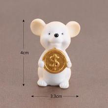 """1 шт. Lucky деньги Фортуна мультфильм украшение """"мышь"""" богатый мыши небольшая статуя Будды маленькая фигурка милые животные настольный домашни...(Китай)"""