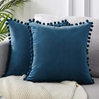 Comfortable Velvet Soft Sofa Bedroom Square Cushion,Custom Dark Blue Soild Throw Pillow Cases