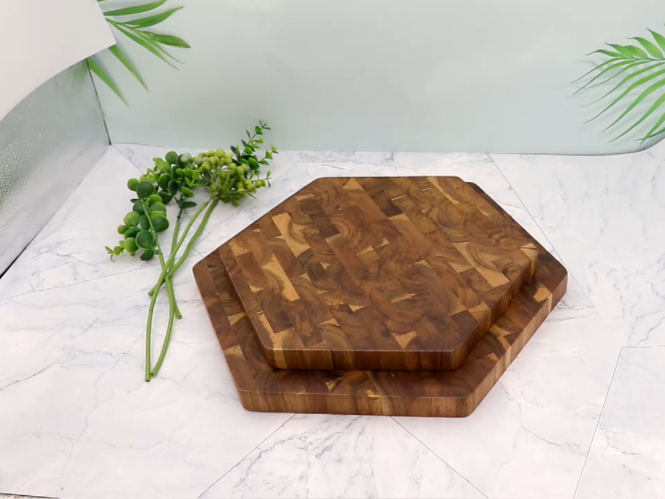 Hexagon Forma Jaswehome Grão Final Placa De Corte De Madeira de Acácia