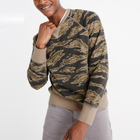 french terry sweatshirt classic tiger-stripe camo crewneck pullover sweatshirt
