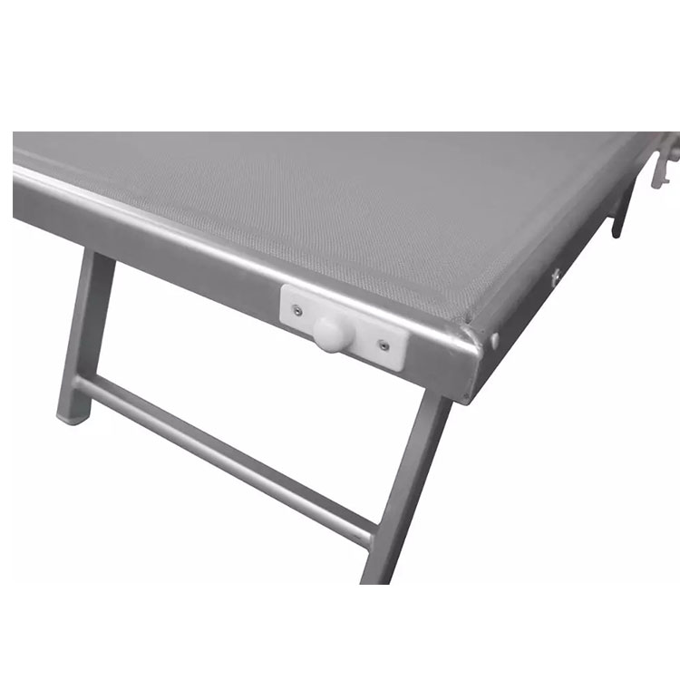 Aluminum Outdoor Italian Lounge Beach Bed With Sun Shade Portable Sun Lounge Lightweight Folding Beach Bed