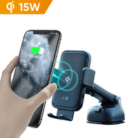 2 in 1 Smartphone Mount Auto Clamp Phone Holder QI 15W Fast Charging Infrared Induction Sensor Wireless Car Charger for S20 S10