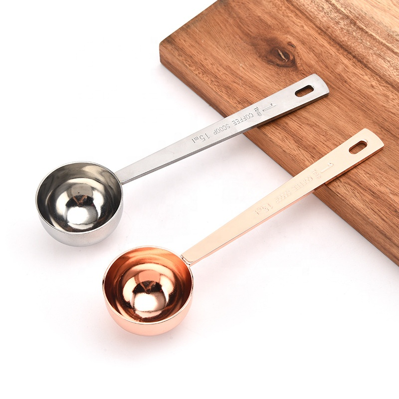 Rose Gold plated silver stainless steel <strong>measuring</strong> <strong>spoon</strong>,coffee scoop,sugar scoop