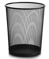 powder coated metal trash can office metal wire mesh round waste basket bucket