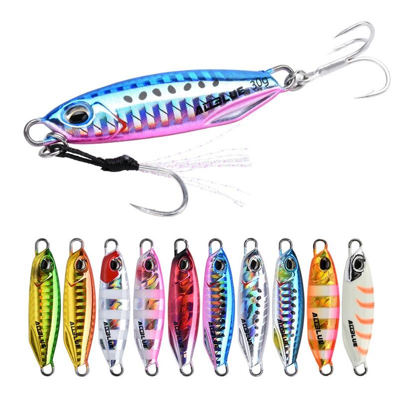 ALLBLUE 30g 40g Shore Casting Jigging Lure Lead Fish Salt Water Sea Fishing Metal Jig, 8 colors