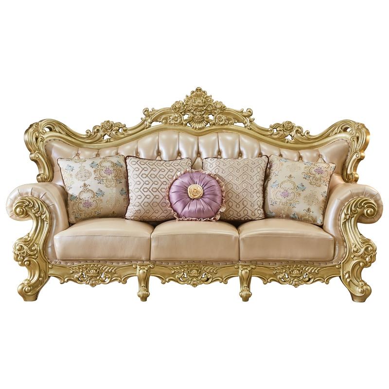 Антикварный деревянный каркас Кожаный Диван Наборы горячая Распродажа классический диван