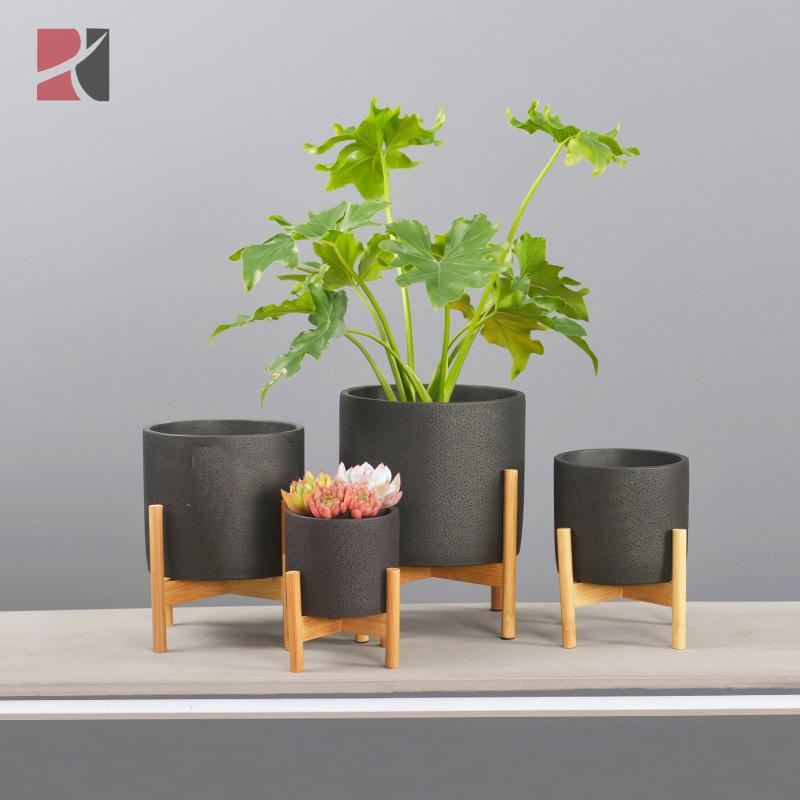Mid Century Modern Concrete Plant Pot