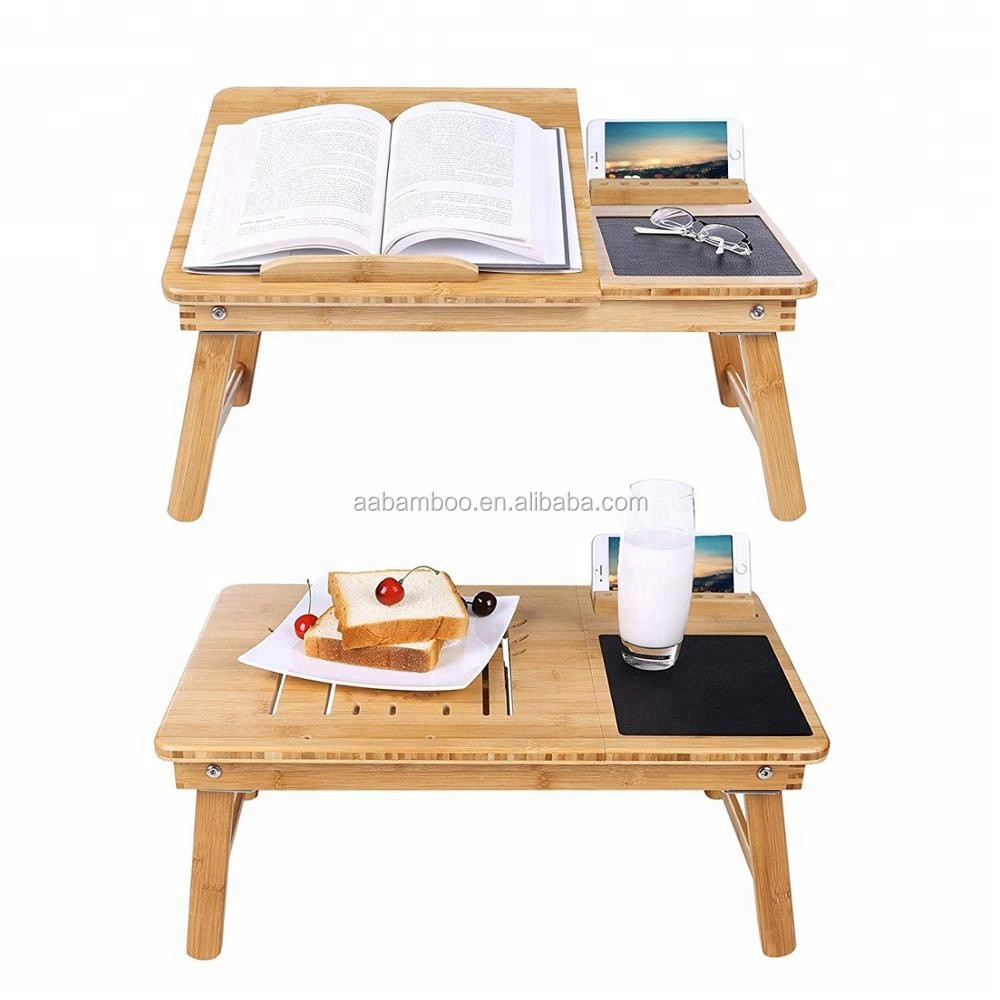 Multifuncional portátil plegable de madera de bambú plegable ajustable mesa de cama para Laptop