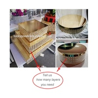 LCK124 Hotsale gold acrylic square cake stand for wedding cakes